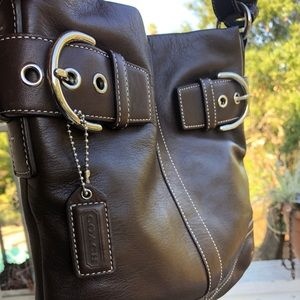 New Authentic Coach Leather Shoulder Bag